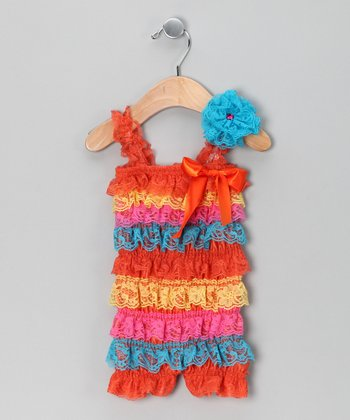 Orange & Blue Lace Ruffle Romper Set - Infant & Toddler
