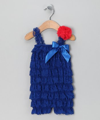 Navy Lace Ruffle Romper & Red Clip - Infant & Toddler