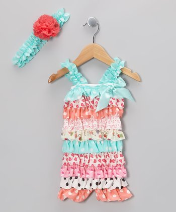 Aqua & Coral Ruffle Romper & Flower Headband - Infant & Toddler