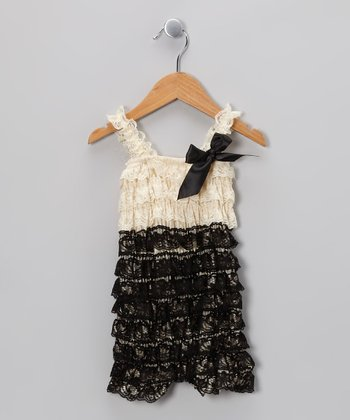 Ivory & Black Bow Romper - Infant & Toddler