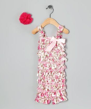 Pink Floral Romper & Hot Pink Clip - Infant & Toddler