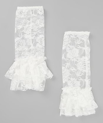 White Lace Flared Leg Warmers