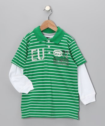 Celtic Green Stripe Pique Polo - Toddler