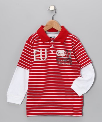 Ecko Red Stripe Pique Polo - Toddler
