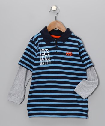 Blue Bold Stripe Pique Layered Polo - Toddler