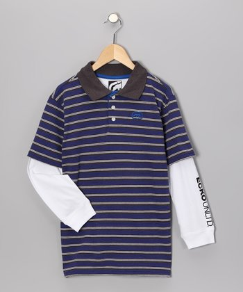Blue & Charcoal Heather Stripe Layered Polo - Toddler & Boys