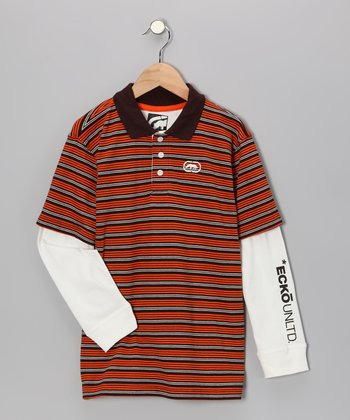 Brown & Orange Stripe Layered Polo - Toddler & Boys