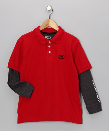 Red & Dark Heather Layered Polo - Boys