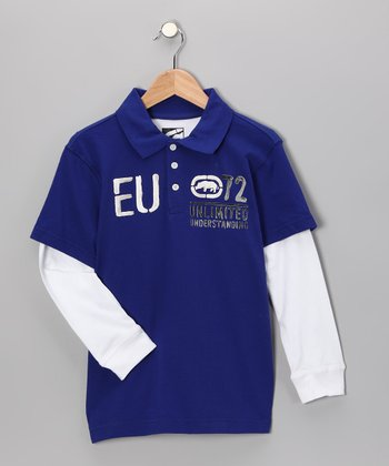 Royal Blue 'EU' Layered Polo - Boys