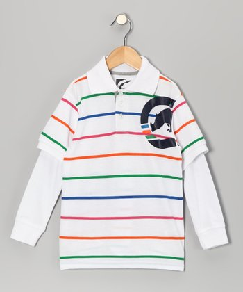 White Stripe Slider Layered Polo - Boys