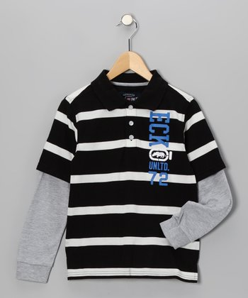Black Bold Stripe Layered Polo - Toddler