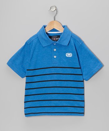 Victory Blue Heath Engineered Jersey Polo