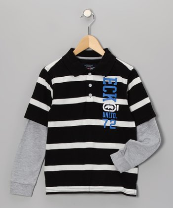 Black & White Stripe Layered Polo - Boys
