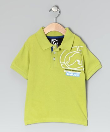 Washed Lime Pique Polo - Toddler