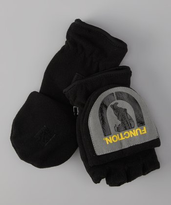Black 'Function' Fleece Convertible Mittens