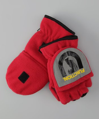 Red 'Function' Fleece Convertible Mittens