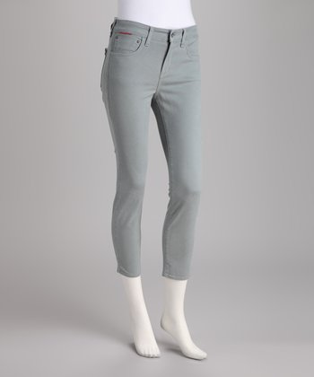 Gray Curvy Skinny Cropped Pants
