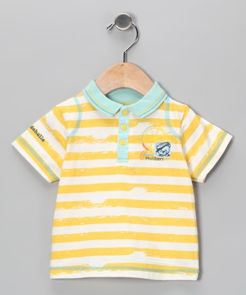 Yellow Stripe Ship Wheel Polo - Infant
