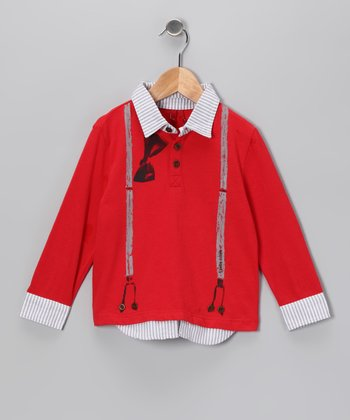 Red Chambray Bow Tie & Suspenders Polo - Infant, Toddler & Girls