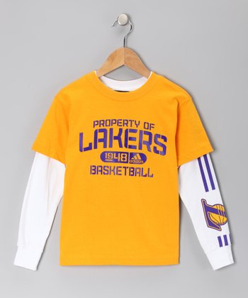 Gold Los Angeles Lakers Tee Set - Kids