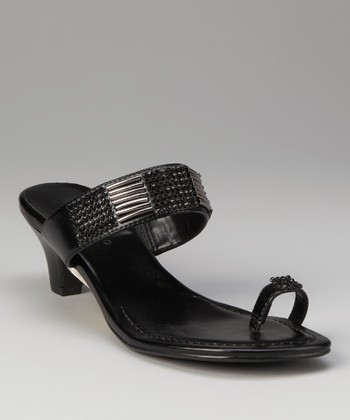 ann marino Black & Pewter Illusion Sandal