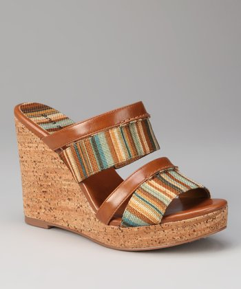 Tan Stripe Jaunt Wedge