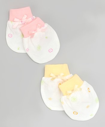 Pink & Yellow Mitten Set