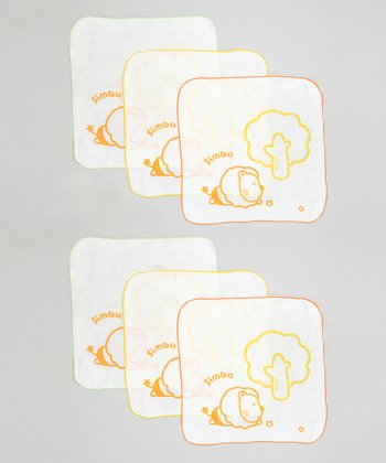 White & Orange Small Simba Washcloth - Set of Six