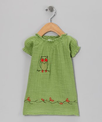 Green Owl Organic Dress - Infant