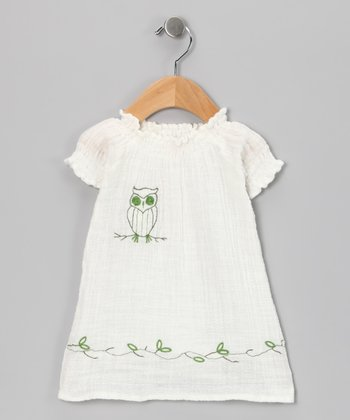 White Owl Organic Dress - Infant