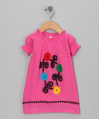 Fuschia Flower Organic Dress - Infant