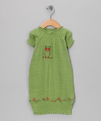 Green Owl Organic Gown - Infant