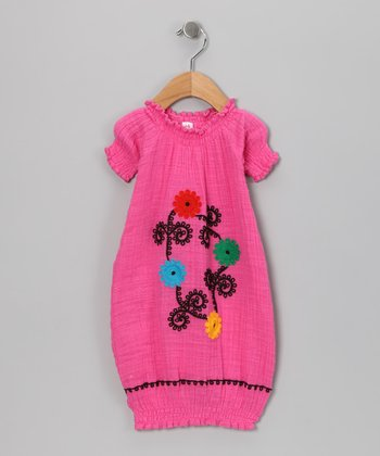 Fuschia Flower Organic Gown - Infant
