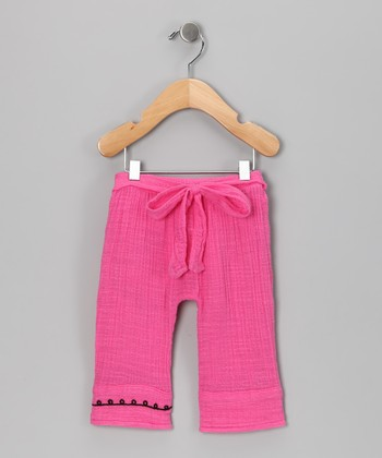 baby ya-ya Fuschia Flower Organic Pants - Infant