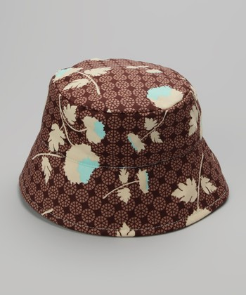 Brown Japanese Floral Bucket Hat