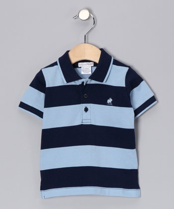 Navy & Pastel Blue City Stripe Polo - Infant, Toddler & Boys
