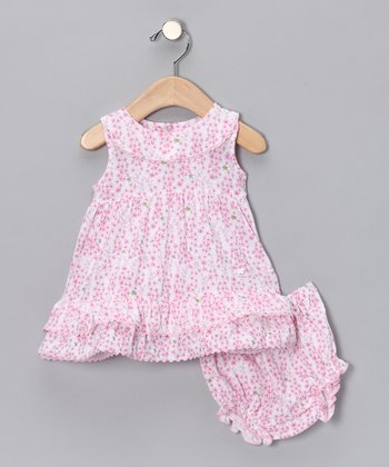 Pink & White Delphi Ruffle Dress - Infant, Toddler & Girls