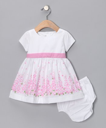 White & Pink Delphi A-Line Dress - Infant & Toddler