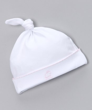 White & Pink Single-Knot Beanie - Infant