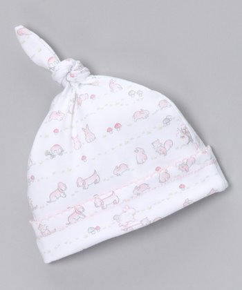White & Pink In the Woods Single-Knot Beanie - Infant