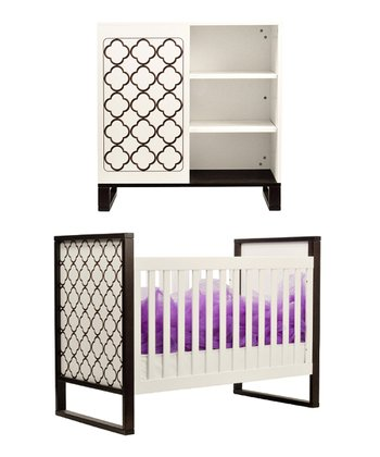 White & Espresso 3-in-1 Convertible Crib & Changing Table