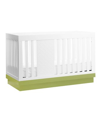 babyletto White & Lime Harlow 3-in-1 Convertible Crib
