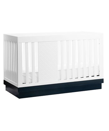 White & Navy Harlow 3-in-1 Convertible Crib
