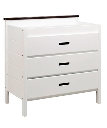 White & Espresso Modena Three-Drawer Changing Dresser