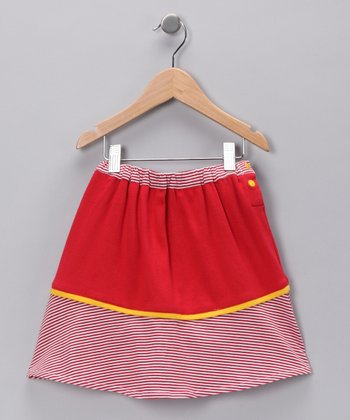 Red Stripe Organic Skirt - Girls
