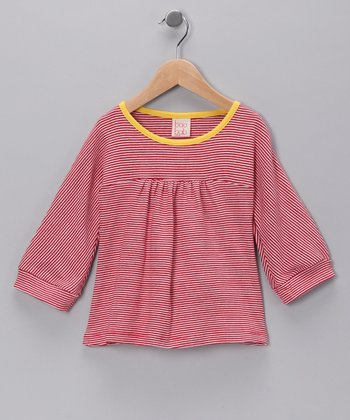Red Stripe Organic Tee - Girls