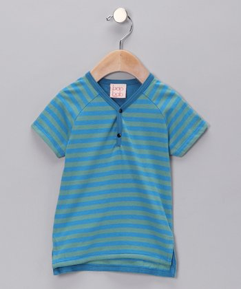 Blue Stripe Organic Henley - Infant