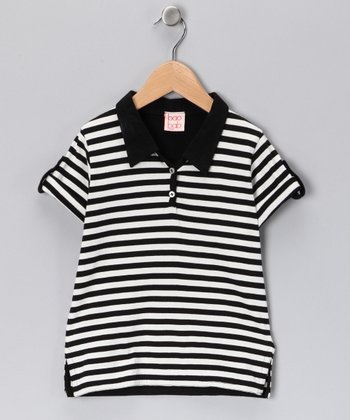 Black & White Stripe Organic Polo - Toddler & Boys