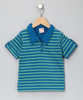 Blue Stripe Organic Polo - Toddler & Boys