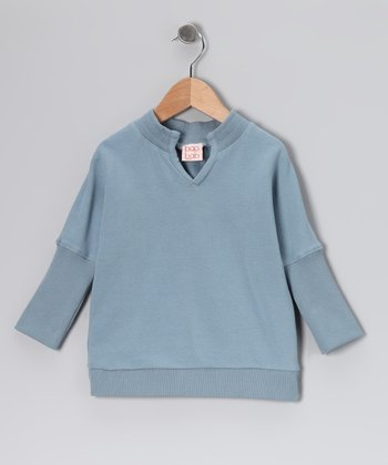 Blue Organic Dolman Top - Girls